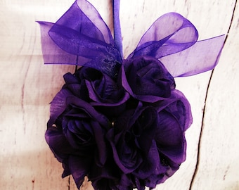 Flower girl Pomander, Puple kissing ball, Wedding flower ball decor
