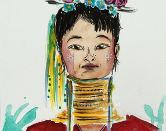 Original watercolor of a young woman giraffe, pink and blue flowers on the head, green yellow ribbon, gold necklace, makeup on the cheeks