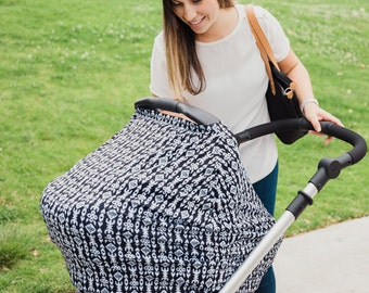 Multi-Use Car Seat Cover Canopy Stretchy Nursing Cover Black White Tribal IKat