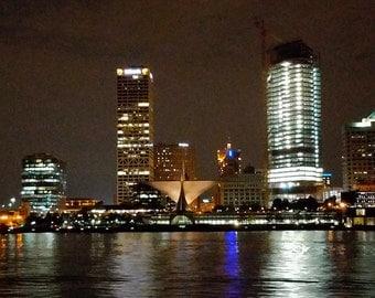 Milwaukee Skyline, Art Museum, Calatrava, Nighttime photography, Wall decor