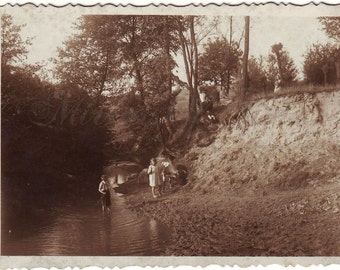 Vintage Photo - Forest landscape - Young women photo - River landscape - Vintage Snapshot - Polish Photo - 1920s photo - Children with cow