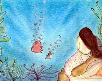 "Pastel and watercolor illustration ""Her heart in the ocean"" (original)"