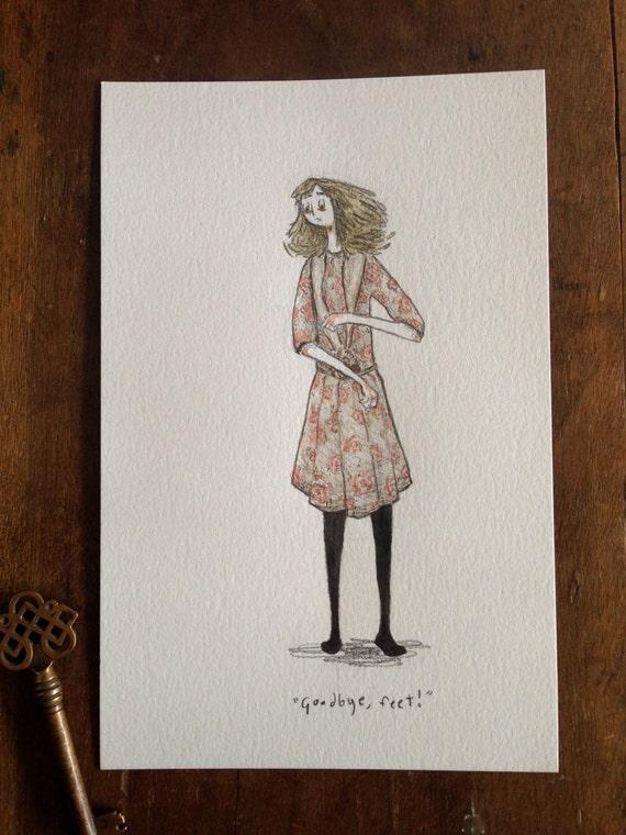 Goodbye, Feet! - 8.5x5.5 original watercolor illustration
