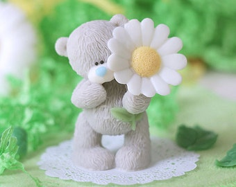 Handmade Soap - Mothers Day Gift - Teddy Bear With A Daisy Flower - Gift For Her - Vegan Soap - Animal Lover