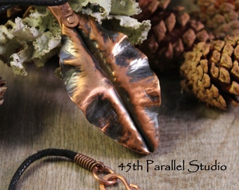 Copper Leaf Necklace, Fold Formed Leaf Pendant, Nature Inspired Jewelry, Nature Pendant, Hippie Jewelry, Copper Necklace