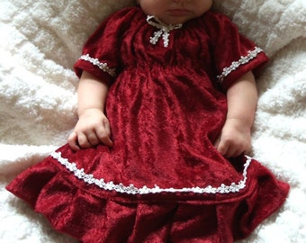 Dark red infant's gown and pants set - crushed velvet panne with ivory floral trims Christmas baby girl's dress with matching bloomers