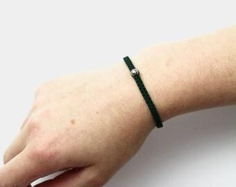 Macrame Silver Bead Bracelet/Anklet - TinyLittlePiecesShop