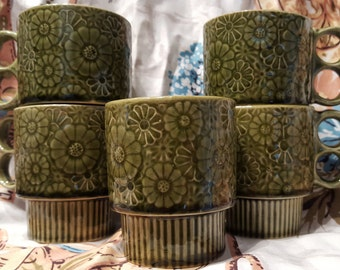 Vintage set of 5 Olive Green Stoneware Stackable Mugs w/ Double Ring Handles