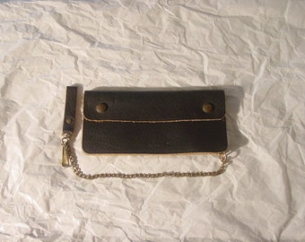 Vintage 1960s leather motorcycle chain wallet trucker wallet NOS