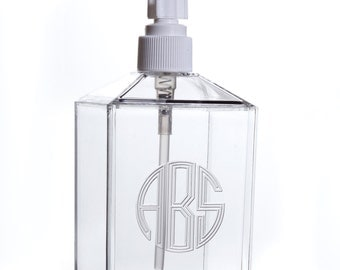 Monogrammed Acrylic Soap Dispenser, Personalized Acrylic Lotion Dispenser For Nursery, Unique Hostess Gift, Gifts for Her, Housewarming Gift