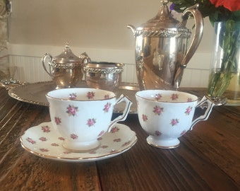 "Aynsley ""Rosedale"" Bone China 2 Teacups and one matching Saucer Made in England."