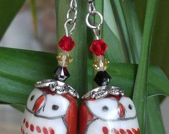 Porcelain Owl Earrings with 8mm Crystal Gems
