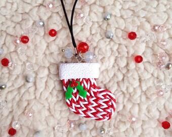 Christmas keychain Christmas socks Christmas stocking Mistletoe Christmas decor Christmas Red colour Winter Holiday gifts Christmas gifts