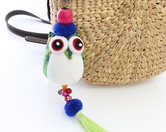 Owl Collection Bag Decoration With Silk Tassel Hill Tribe Thailand