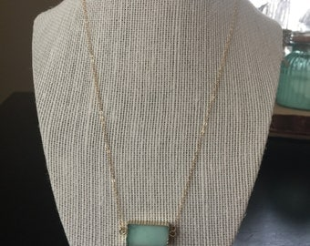 Chrysoprase pendant necklace/delicate pendant necklace/delicate gemstone necklace/14k gold necklace