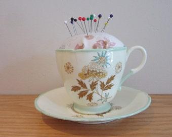 Vintage teacup pincushion