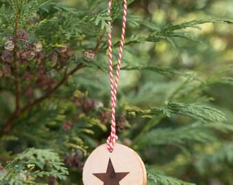 Star Hanging Christmas Tree Decoration - Engraved Wooden Log Slice Christmas Decoration