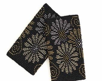 Wonderful black color beaded Wrist Warmers / Arm Warmers / Knit Arm Warmers