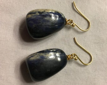 Blue stone dangle earrings on 18k gold fish-hook findings