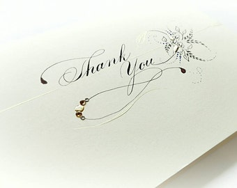 Handmade thank you card, thanks, calligraphy, handwritten, Swarovski Crystals
