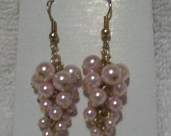 Imitation Pink Pearl Cluster Earrings