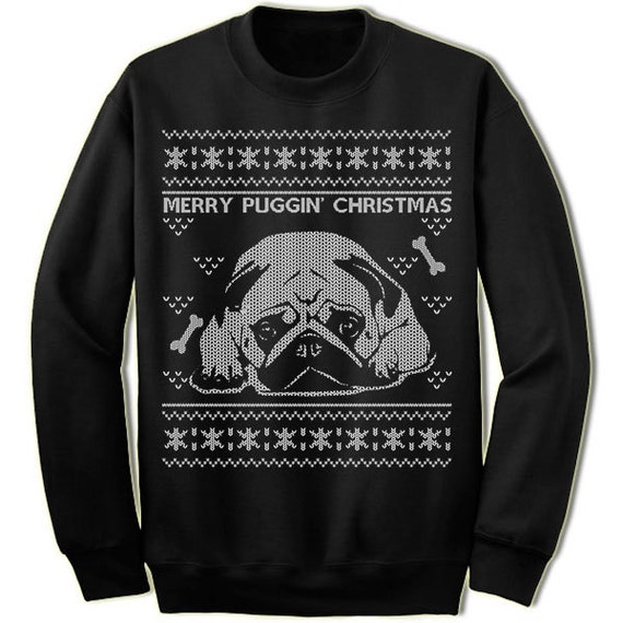 ugly pug sweaters pug ugly christmas sweater merry puggin christmas sweater 3488