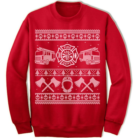 Firefighter Christmas Gift. Ugly Christmas Sweater Sweatshirt.