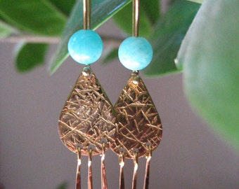 Gold earrings and Amazonites