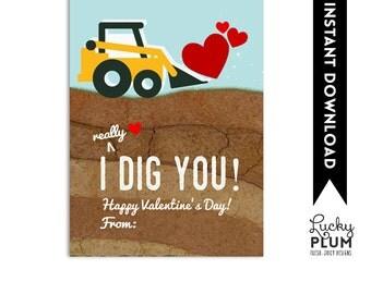 I Dig You Valentine Printable / Bulldozer Valentine Printable / Valentine Printable Tag / Boy Valentine Printable