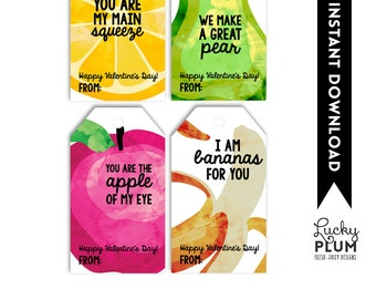 Fruit Valentine Printable / Apple of My Eye / Bananas For You / Fruit Valentine Tag / We Make A Great Pear / Orange You Glad We Are Friends