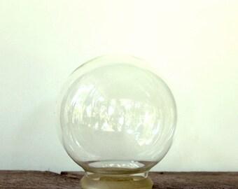 large glass terrarium . vintage flower globe . glass dome terrarium