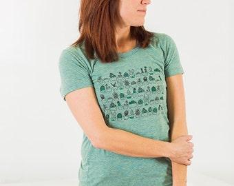 Succulents Ladies Screen Printed T-shirt