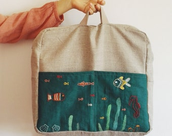 Linen backpack, baby backpack, hand embroidered and painted, natural and teal - Under the sea - Lullaby Collection- OOAK