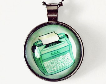 retro TYPEWRITER NECKLACE, college student gift, original art necklace, gifts for writers, whimsical necklace, librarian gifts, book lover