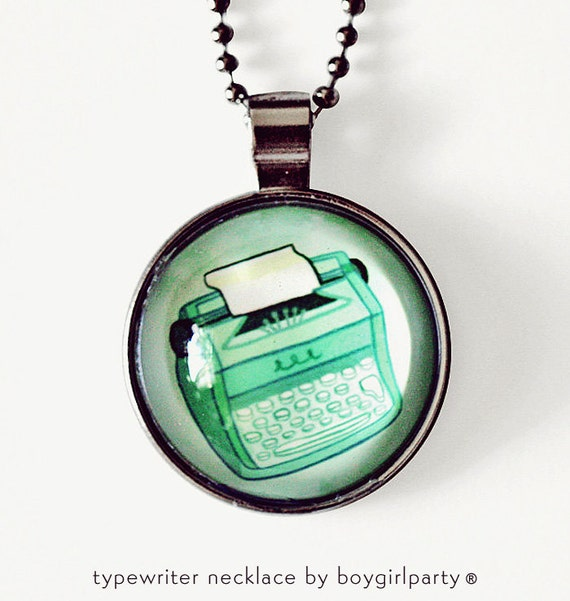 TYPEWRITER NECKLACE green typewriter necklace mint green necklace retro necklace by boygirlparty, retro typewriter charm typewriter jewelry