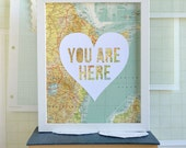 Long Distance Relationship Gift Idea - Paper Anniversary Gift - Travel Theme Artwork - Romantic Art - You Are Here
