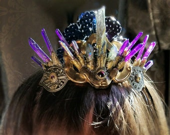 Mystical Crystal Crown One Of A Kind ready to ship genuine mystic crystals and hand sculpted with vintage brass and glass
