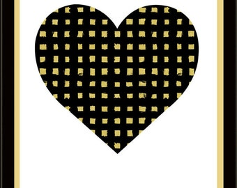 Black & Gold Heart Silkscreen Print - Pittsburgh Love Poster - Graphic Minimalist Screenprint Wall Art -