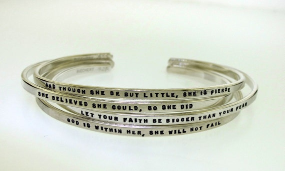 Personalized Bracelet, hand stamped sterling silver cuff bracelet custom made with your chosen message, tiny text personalized jewelry