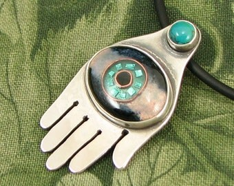 "Enameled Eye in Hand ""The Gift of Foresight"" Pendant -  Sterling with Turquoise Stone - OOAK"