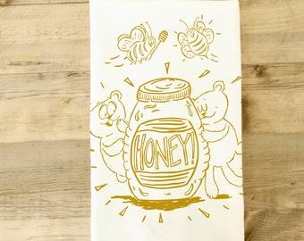 Honey Bears and Bees Tea Towel