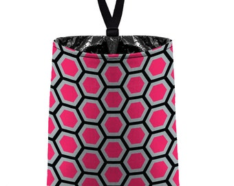 Car Trash Bag // Auto Trash Bag // Car Accessories // Car Litter Bag // Car Garbage Bag - Honeycomb hot pink grey black// Car Organizer