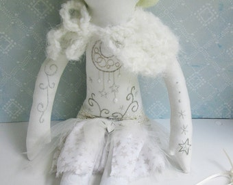 OOAK Embroidered unicorn cloth doll Star
