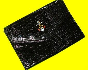 Bold Anchor Glossy Black Faux Alligator Patent Leather Rockabella Vintage Refurbished One of a Kind Handbag Large Clutch Purse