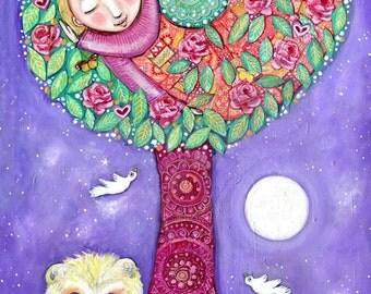Tree Spirit Art Print Art for Girls Room Spiritual Tree Art Print Lion Painting Girls Wall Decor Gift for Friend Womens Art Purple Art Print