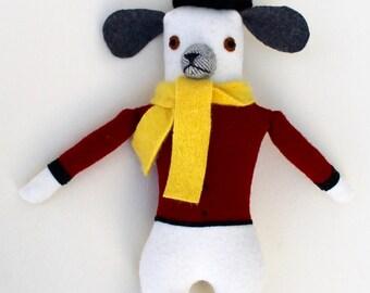 Dog Boy White and Grey doll plush wool
