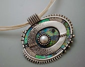 Sterling Silver Pendant with white pearl iridescent faux polymer opal, graphic lines, black white oval statement piece