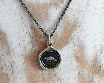 Industry and Perseverance Wax Seal Necklace of a Beaver - 141