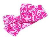 Valentine's Headwrap, Girls Headwrap, Baby Headwrap, Girls Headband, Big Bow Headwrap, Valentine's Day, Pink Headwrap - PINK FLOURISH