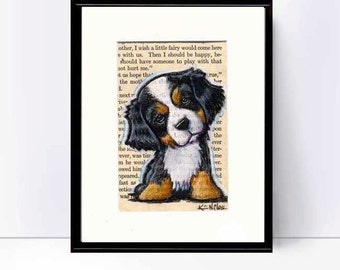 Matted Bernese Mountain Dog Original Art on Vintage Altered Book Page